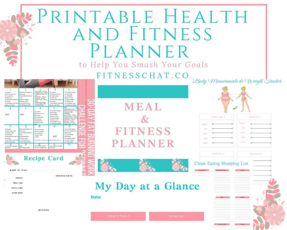7 Page fitness printable diet and workout tracker