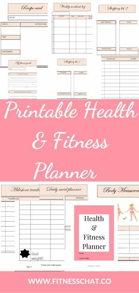 Beautiful health & fitness planner , printable, organisational printables ,weight loss tracker. Bullet journal fitness