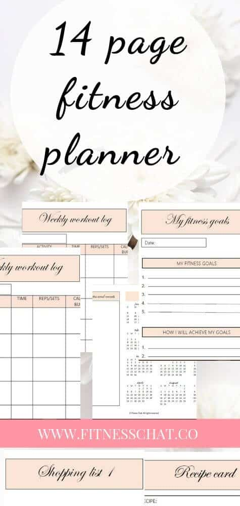 chic printable health & fitness workout planner!