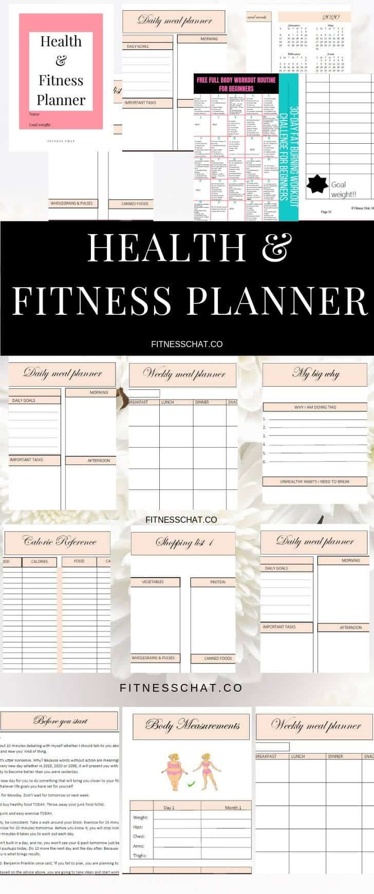 graphic about Fitness Planner Printable called Printable Conditioning and Physical fitness Planner toward Guidance Oneself Smash Your