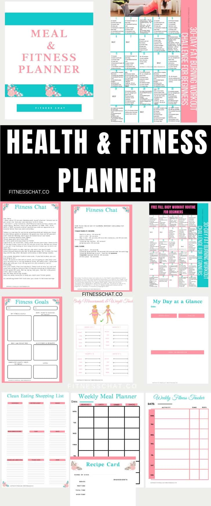 health & fitness planner , printable, organisational printables ,weight loss tracker. Bullet journal fitness