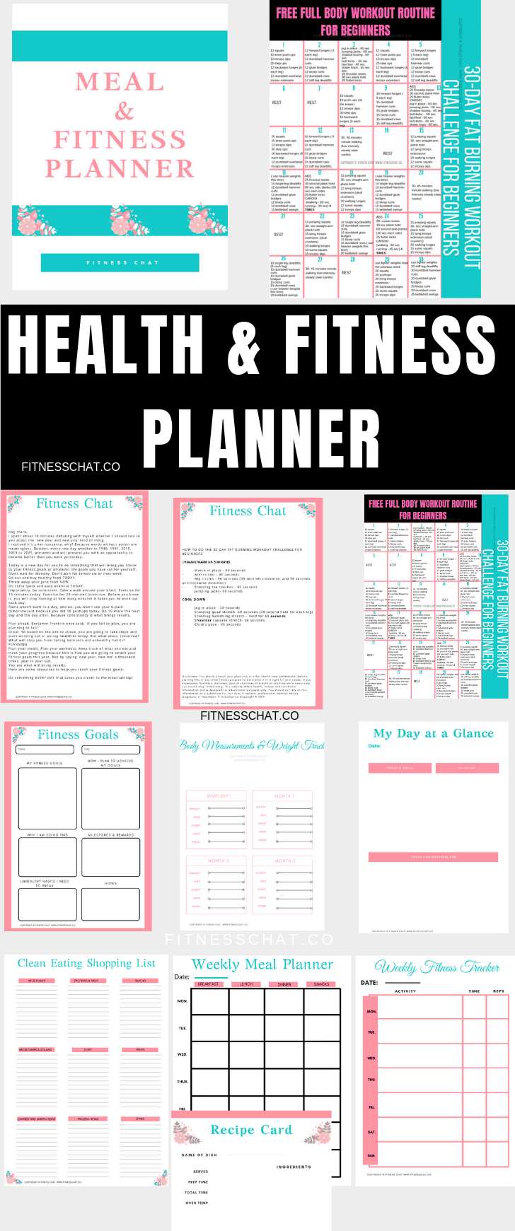 health & fitness planner , printable, organisational printables ,weight loss tracker
