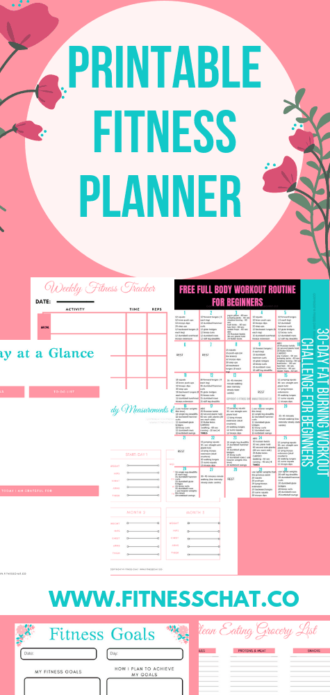 printable health & fitness workout planner
