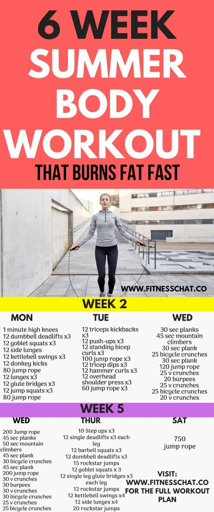 summer body workout plan female at home