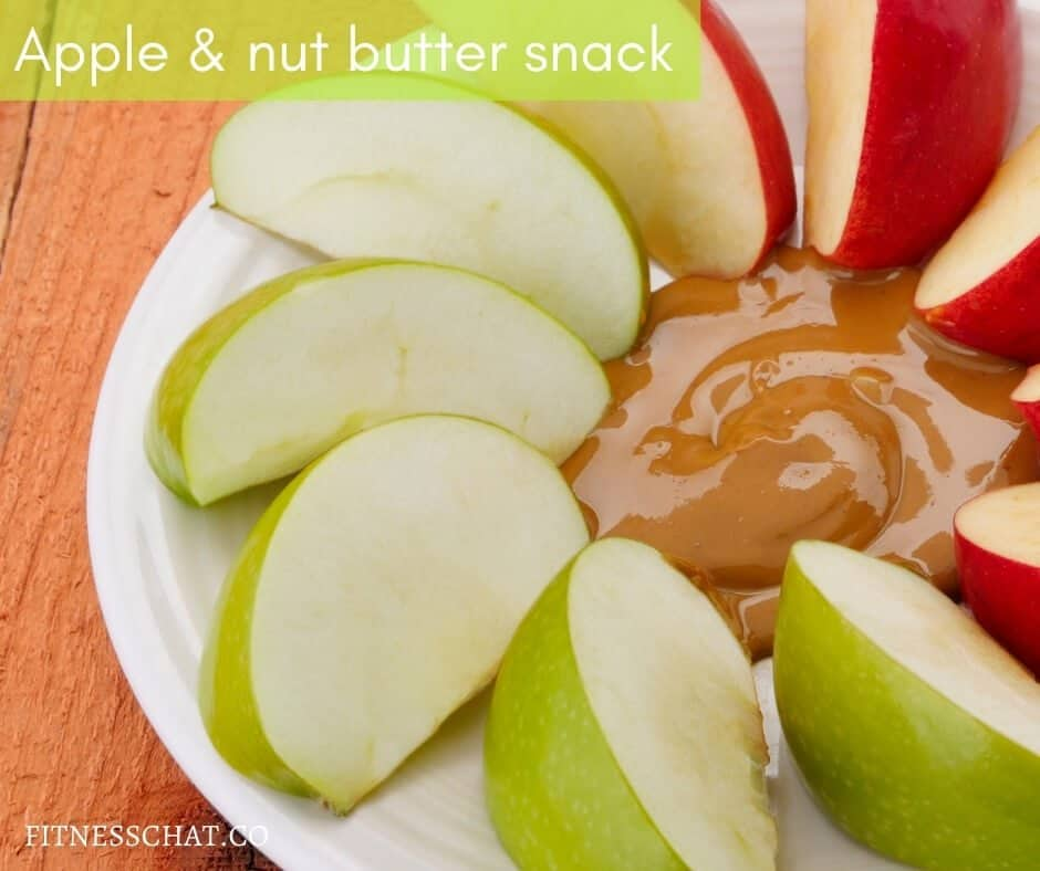 Sliced apple with almond butter snack for weight loss
